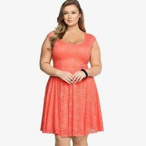 Torrid - Laced Orange Skater Dress - Size 3 (3x)